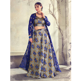 Craftsvilla Grey Color Jacquard Graphic Printed Designer Semi-stitched Lehenga Choli