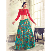 Craftsvilla Red Color Jacquard Graphic Printed Designer Semi-stitched Lehenga Choli