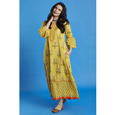 Printed Yellow Ruffle Sleeves Kurti Dress With Side Pockets