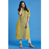 Yellow Printed Straight Kurti With Button Placket