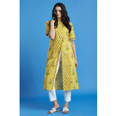 Printed Yellow Front Button Down Kurti
