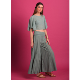 Kiara- Mint Green Georgette Crop-top With Kalidar Palazzo