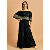 Amaya -ink Black Zari Embroidered Crop Top With Box Pleat Palazzo