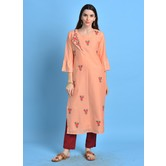 Nazneen\' Vermilion Color Cotton Blend Kurta With Embroidered Buti Details.