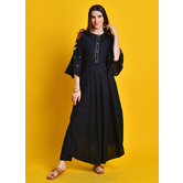 Raina -jet Black Kurta With Zari Embroiered Sleeves Paired With Straight Pants