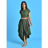 Military Green Mandarin Collar Kurti Dress With Cowl Handkerchief Hem & Embroidered Belt