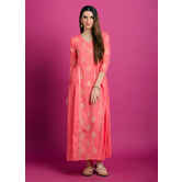 Blush Pink Gathered Maxi Dress With Rubber Foil Print. Note : Do Not Iron On Print