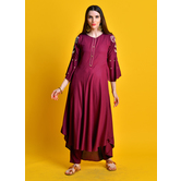 Leyla -maroon Kurta With Zari Embroiered Sleeves Paired With Straight Pants