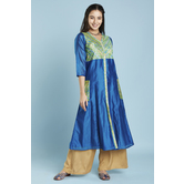 Blue Gold Print Button Down Anarkali Style Kurti With Side Patch Pockets