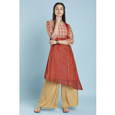 Red Assymetric Chanderi Kurti With 3/4th Sleeves