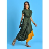Military Green Mandarin Collar Kurti Dress With Mega Sleeves & Gathered Cowl Drape