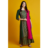 Ashita- Emerald Green Golden Foil Embroidered Kurta Palazzo Set With Dupatta