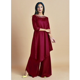 Shringar -crimson Red Kurta With Jewewled Neck Cordinted Wth Palazzo