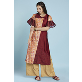 Maroon Colour Block Straight Cut Kurti With  Flared Pleated Sleeves