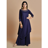 Shamiyana -royal Navy Blue Kurta With Jewewled Neck Cordinted Wth Palazzo