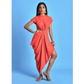 Rust Mandarin Collar Kurti Dress With Mega Sleeves & Gathered Cowl Drape