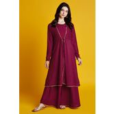 Swarna- Maroon Foil Printed A-line Kurti Dress With Full Sleeve Tie-up Jacket