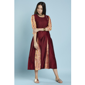 Maroon Gold Printed Inserted Pleat Anarkali Style Kurti With Inverted Pleats Yoke
