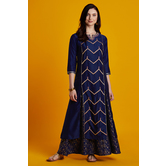 Amaal- Navy Blue Golden Foil Embroidered Floor Length Layered Dress