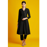 Heera- Black Foil Printed Angarkha Style Kurti With 3/4th Sleeves & Straight Pants