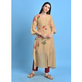 Nafisa\' Fawn Color Cotton Blend Kurta With Embroidered Buti Details.