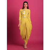 Arohi- Buttery Yellow Foil Printed Cowl Kurta Paired With Chic Dhoti Pants