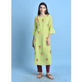 Nazneen\' Pista Color Cotton Blend Kurta With Embroidered Buti Details.