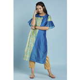 Blue Green Colour Block Straight Cut Kurti With  Flared Pleated Sleeves