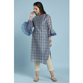 Blue High Low Apple Cut Hem Chanderi Kurti With Layered Bell Sleeves