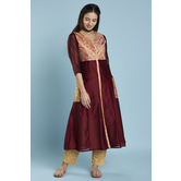 Maroon Gold Print Button Down Anarkali Style Kurti With Side Patch Pockets