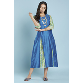 Blue Gold Printed Inserted Pleat Anarkali Style Kurti With Inverted Pleats Yoke