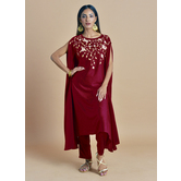 Rajasi -ruby Red Kaftan With  Zari Embroidery Paired With Straight Pants