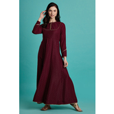 Vaani- Maroon Foil Printed Kali Kurti Dress With Round Neck & Full Sleeves