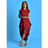Maroon Mandarin Collar Kurti Dress With Cowl Handkerchief Hem & Embroidered Belt