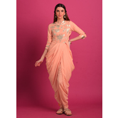 Abeer- Blush Coral Foil Printed Cowl Kurta With Chic Dhoti Pants