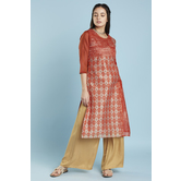 Red Multiprint Panelled Chanderi Kurti