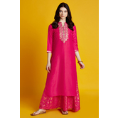 Aaravi- Pink Golden Foil Embroidered Floor Length Dress With Round Slit Neck And 3/4th Sleeves