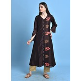 Imarti\' Brown Color Kurta With Embroidered Details.