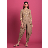 Aisha- Sandcastle Grey Foil Printed Cowl Kurta Paired With Chic Dhoti Pants