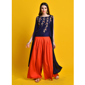 Seher -indigo Embroidered Asymmetrical Crop Top Paired With Mustad Yellow Box Pleat Palazzo