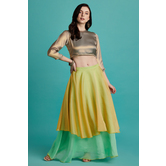 Sunehri- Lemon And Aqua Layered Skirt With Dual Tone Crop Top