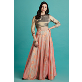 Gulabo- Foil Printed Pink And Blue Organza Layered Skirt With Blouse