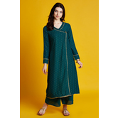 Tiya- Green Foil Printed Angarkha Style Kurti With Full Sleeves And Palazzo