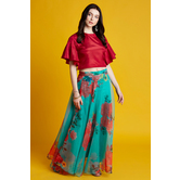 Jalashaya- Red Ruflle Sleeves Crop Top With Floral Printed Organza Skirt