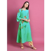 Nafisa\' Rama Green Cotton Blend Kurta With Embroidered Buti Details.