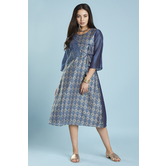 Blue Chanderi Kurti With Angrakha Style Tie-up