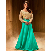 Craftsvilla Turquoise Silk Solid Designer Crop Top With Skirt