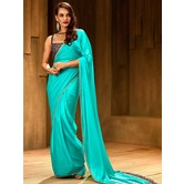Craftsvilla Sky Blue Satin Hand Embroidered Readymade Saree With Blouse