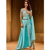 Craftsvilla Sky Blue Satin Zari Work Readymade Saree With Blouse