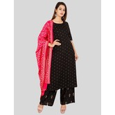 Craftsvilla Black Rayon Polka Printed Readymade Salwar Suit Set